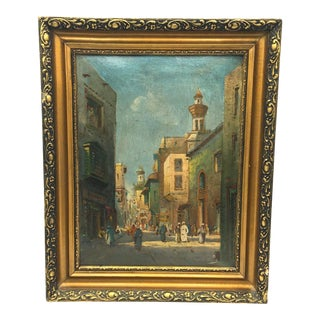 Early 20th Century Cairo Mosque Market Street Oil Painting For Sale