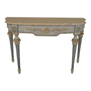 French Louis XIV Paint Decorated Marble Top Console Table