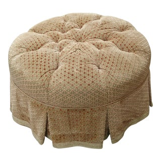 Extra Large Round Upholstered Tufted Pouf Ottoman For Sale