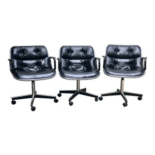 1970s Vintage Charles Pollock for Knoll International Black Leather Executive Chair- Set of 3 For Sale