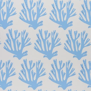 Schumacher x Molly Mahon Coral Wallpaper in Blue For Sale