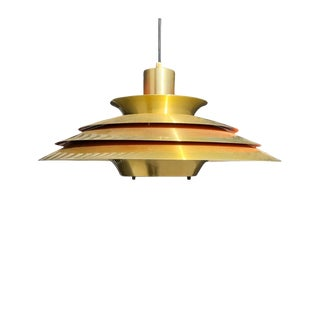 Vintage Danish Mid-Century Brass Pendant Light For Sale