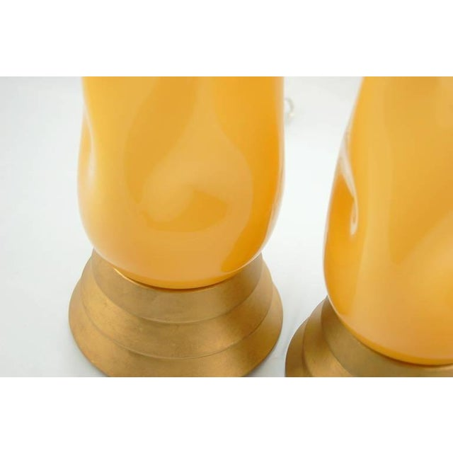Gold Vintage Murano Glass Table Lamps Butterscotch For Sale - Image 8 of 9