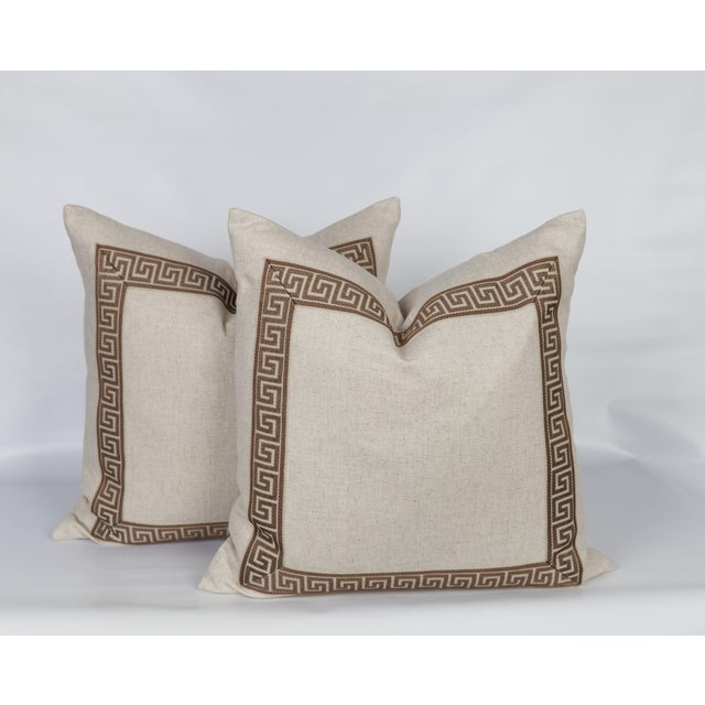 Oatmeal Linen and Caramel Greek Key Pillows, a Pair For Sale - Image 4 of 5