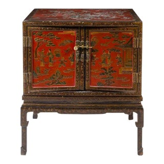 Antique Chinese Carved & Painted Cabinet For Sale