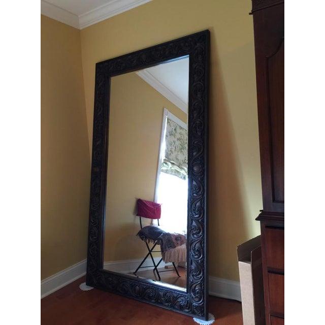 Mahogany Carved Floor Mirror | Chairish