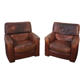 1970s Vintage High End Luxury Roche Bobois Leather Cigar Club Lounge Chairs- A Pair For Sale