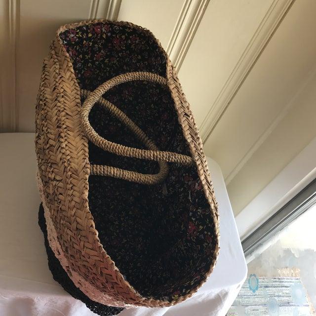 Large Boho Lined Jute Market Basket - Image 4 of 8