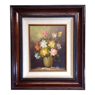Vintage Framed Still Life Oil Painting by Robert Cox For Sale