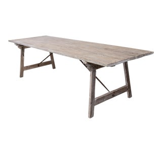 Long Painted Pine Trestle Table For Sale