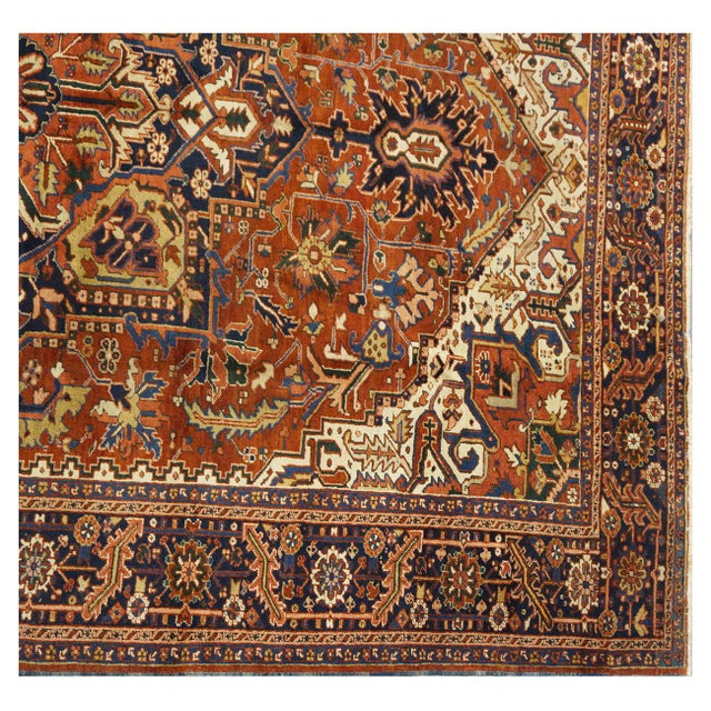 "Islamic Traditional Heriz Wool Rug - 9'6"" x 12'3"" For Sale - Image 3 of 4"