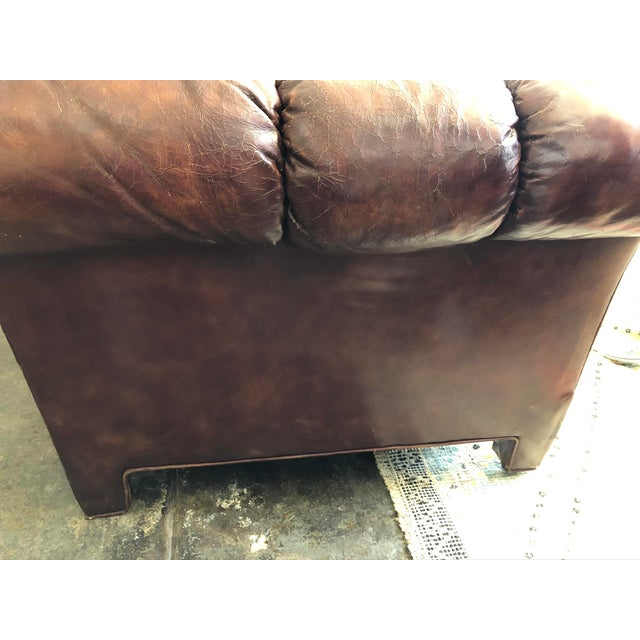 Brown Vintage Cognac Brown Leather Chesterfield Sofa For Sale - Image 8 of 9