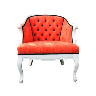 Coral French Provincial Barrel Chair