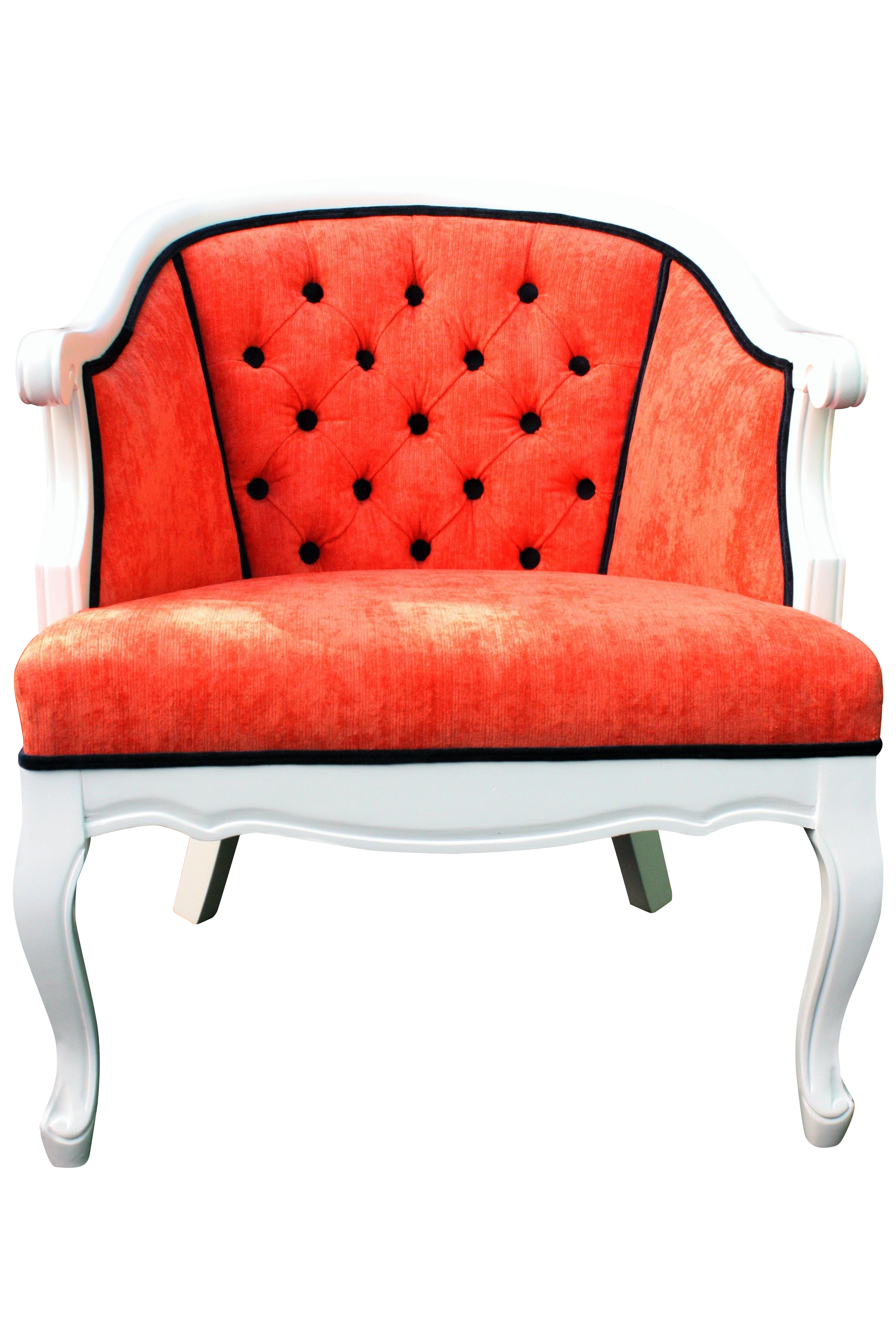 Exceptionnel Coral French Provincial Barrel Chair