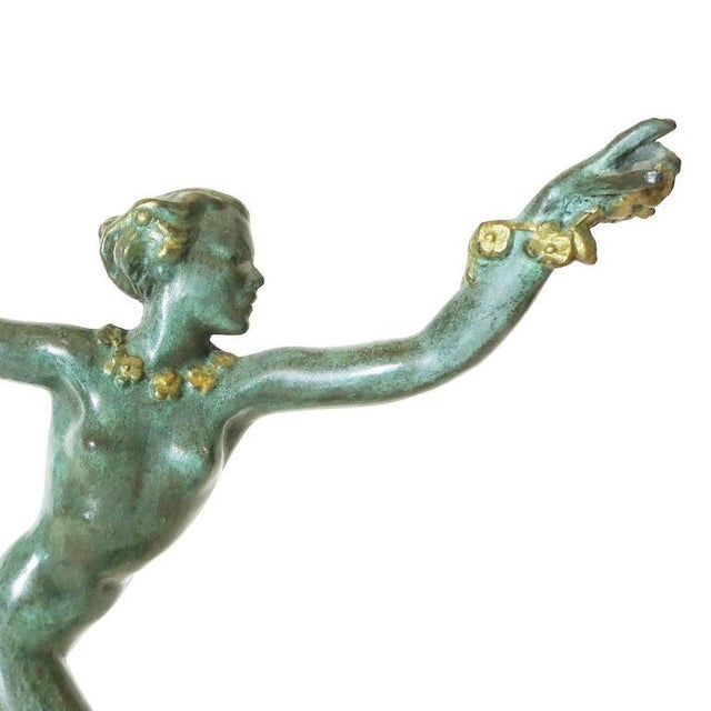 Derenne Style Art Deco Nude Dancing Nymph Bronze Statue with Black Marble - Image 7 of 8