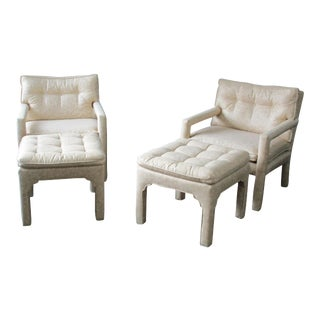 Milo Baughman Parsons Style Chairs and Matching Stools - Set of 4