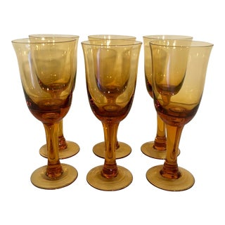 Boho Chic Blown Glass Amber Wine Glasses - Set of 6 For Sale
