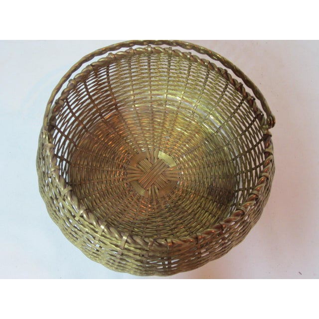 Vintage Round Woven Brass Basket For Sale - Image 6 of 7