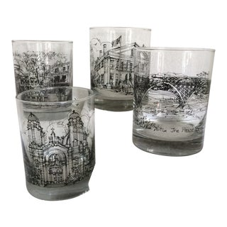 Vintage Adam, Mecdrum and Anderson Historical New York Sites Line Art Old Fashion Glasses - Set of 4