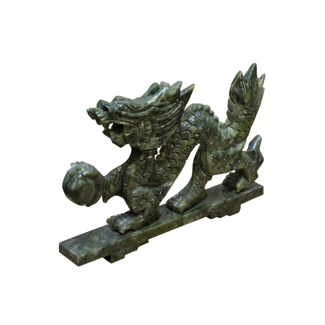 Asian Chinese Green Stone Carved Dragon Fengshui Figure For Sale - Image 3 of 7