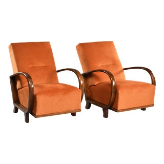 Pair Mid Century Italian Chairs With Walnut Arms and Pumpkin Chenille Upholstery For Sale