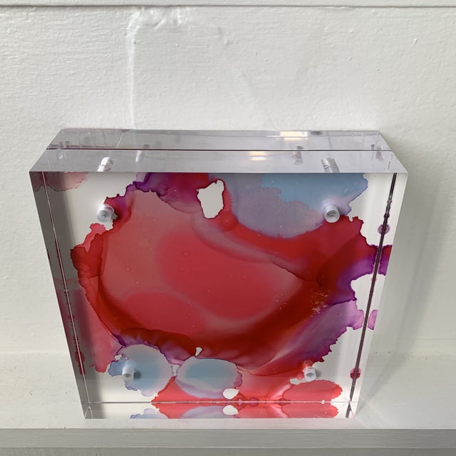 2020s Contemporary Ink Wash in Lucite by Stephanie Wheeler, Double-Sided For Sale - Image 5 of 13