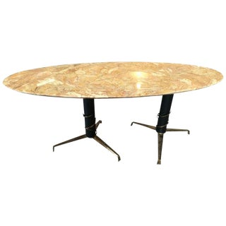 1950s Mid-Century Modern Italian Yellow Marble and Brass Oval Coffee Table For Sale