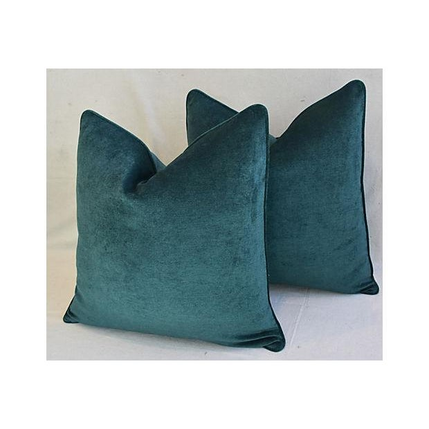 Aqua Marine Green/Turquoise Velvet Feather & Down Pillows - a Pair For Sale - Image 4 of 13