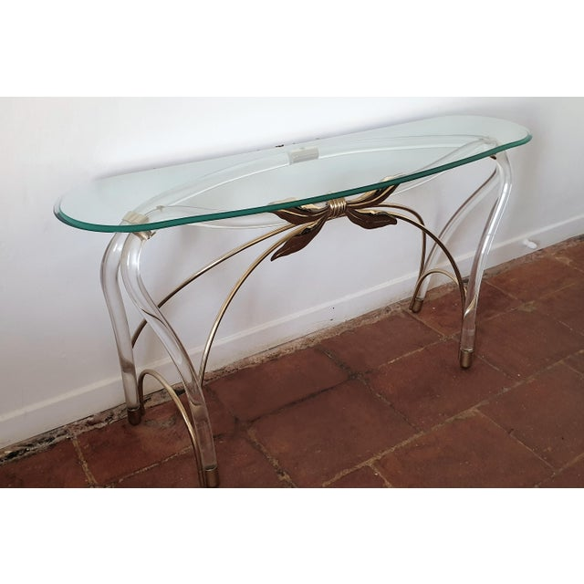 1970s Large Mid-Century Modern Organic Glass Brass & Lucite Console Table, Spain 1970s For Sale - Image 5 of 13