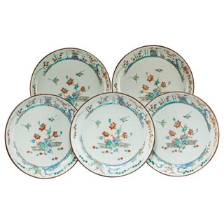 Five 18th Century Qing Dynasty Enameled Porcelain Chinese Export Plates For Sale