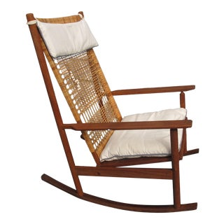 1950s Vintage Hans Olsen Teak Rocking Chair For Sale