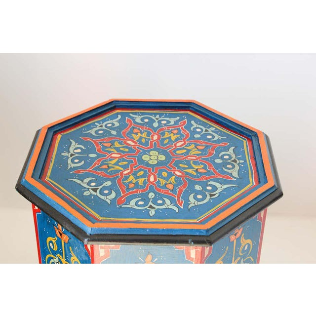 Hand Painted Blue Moroccan Pedestal Tables - a Pair For Sale - Image 9 of 13