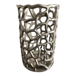 Vintage Brutalist Cast Aluminum Candle Holder For Sale