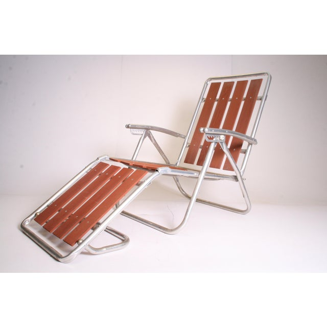 Mid Century Redwood Aluminum Folding Chaise Lounge Chair For Sale - Image 5 of 11