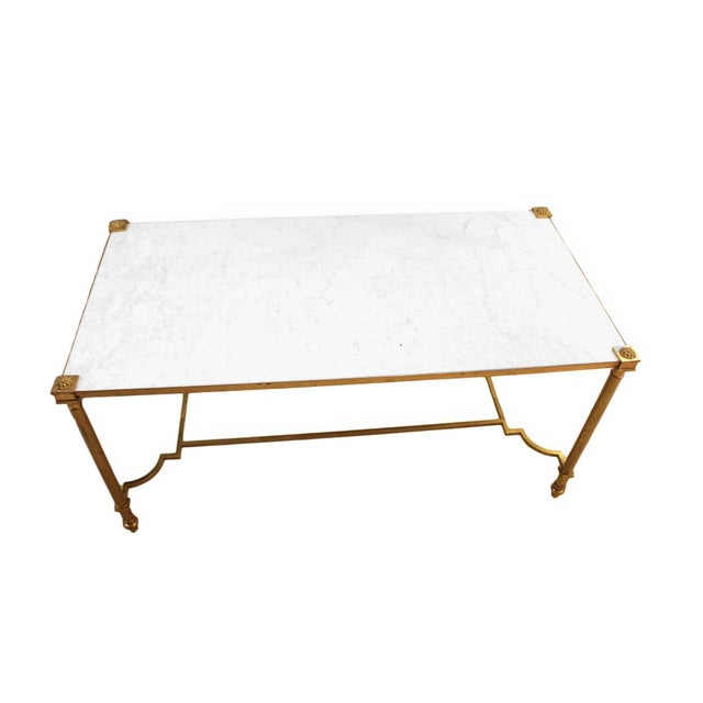 Brass Maison Jansen Style Brass & White Marble Top Coffee Table For Sale - Image 7 of 8