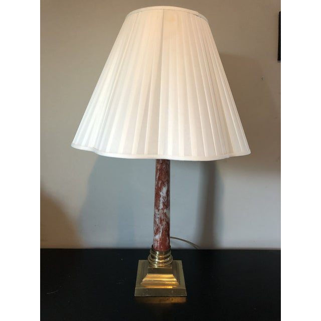 Vintage Red Marble Brass Column Table Lamp - Image 6 of 6