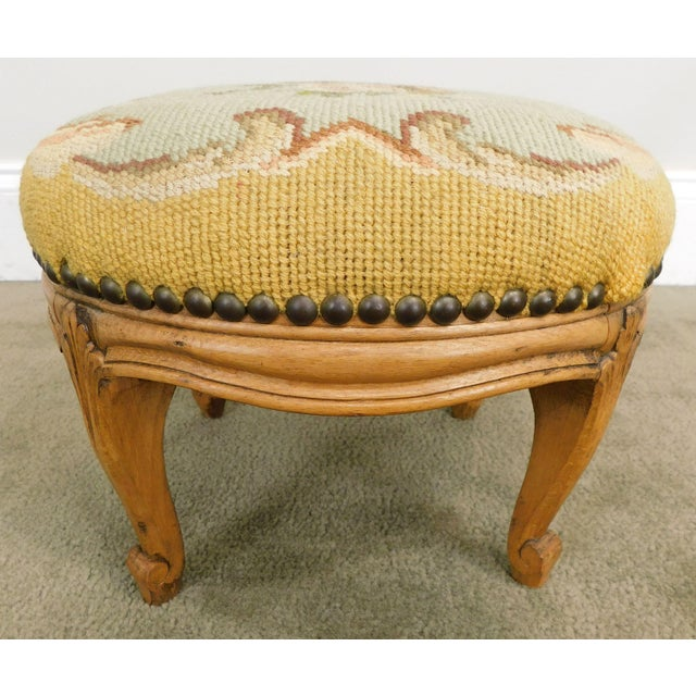 French Louis XV Style Antique Small Needlepoint Footstool For Sale In Philadelphia - Image 6 of 13