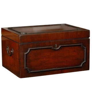 18th Century English Early Georgian Mahogany Box with Original Handles