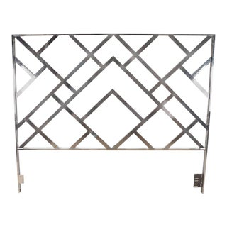 Mid-Century Modernist Chrome King-Size Headboard For Sale
