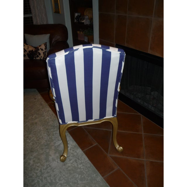 Regal Gold & Blue Striped Chair - Image 6 of 10