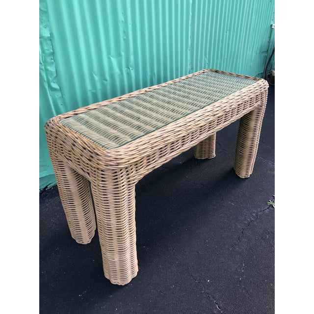 VintageBraid Wicker Console Table For Sale - Image 11 of 11