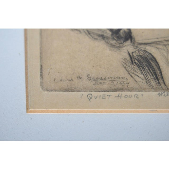"Paper Elias Grossman ""Quite Hour"" Etching c.1934 For Sale - Image 7 of 8"