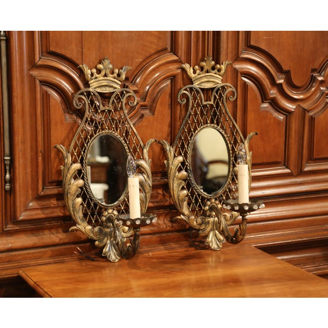 Gold Pair of Early 20th Century French Iron Wall Sconces With Crystal and Mirror For Sale - Image 8 of 11