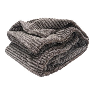 Modern Ultra Plush Sheared Chinchilla Throw For Sale
