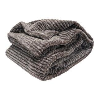 Modern Ultra Plush Sheared Faux Fur Chinchilla Throw For Sale