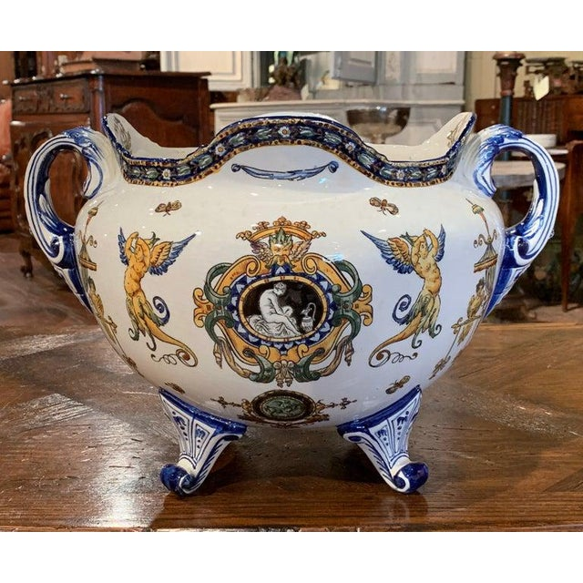 Late 19th Century 19th Century French Louis XV Hand Painted Porcelain Cache Pot Signed Gien For Sale - Image 5 of 11