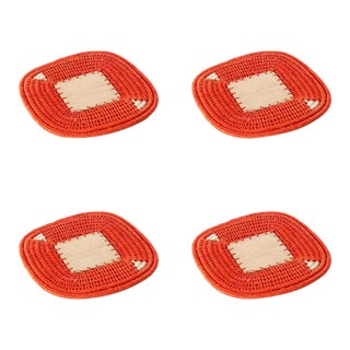 Square Coasters Tangerine - Set of 4 For Sale