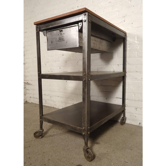 Rolling Industrial Cart By Lyon Co. w/ Finished Teak Top For Sale In New York - Image 6 of 6