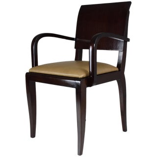 1940s Vintage French Art Deco Mahogany Chair For Sale