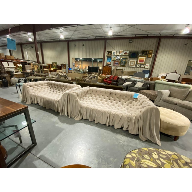 Tan Italian Tufted Sofas - a Pair For Sale - Image 8 of 8
